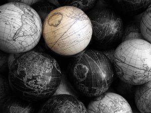 black and white globes