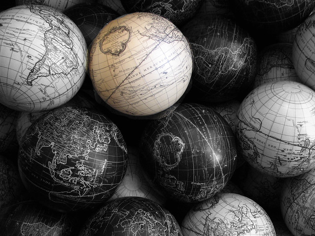 black and white globes